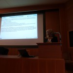 Mrs. Chrysoula Papathanasiou presents the assessment of the flood risk before and after a fire.